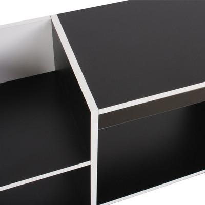 TV-Rack Fernsehtisch Standregal aus Holz 109x59x30 cm ~ weiss – Bild 4