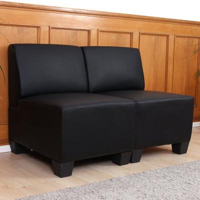 Modular 2-Sitzer Sofa Couch Lyon, Kunstleder ~ schwarz, ohne Armlehnen – Bild 2