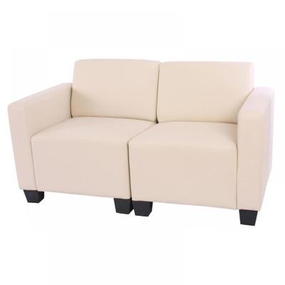 Modular 2-Sitzer Sofa Couch Lyon, Kunstleder ~ creme – Bild 1