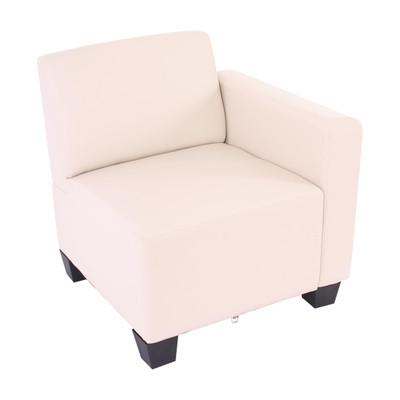 Modular Seitenteil rechts, Sessel mit Armlehne Lyon, Kunstleder ~ creme – Bild 1
