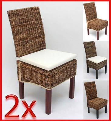 2x Esszimmerstuhl Korbstuhl M69 Stuhl BALI Bananengeflecht ~ dunkel, ohne Kissen – Bild 4