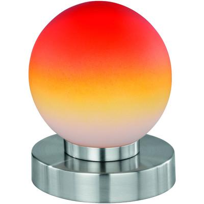 Reality|Trio Kugellampe Lampe Tischleuchte Touch Me Dimmer ~ Nickel matt, Glas opal orange