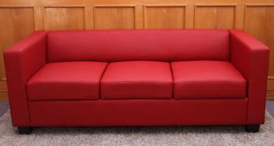 3er Sofa Couch Loungesofa Lille ~ Leder, rot – Bild 3