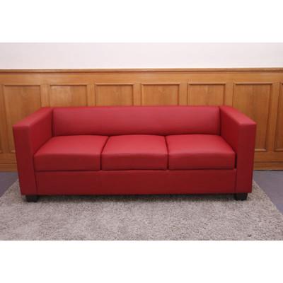 3er Sofa Couch Loungesofa Lille ~ Leder, rot – Bild 1