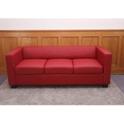 3er Sofa Couch Loungesofa Lille ~ Leder, rot 001
