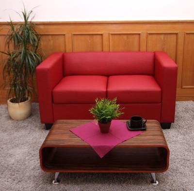 2er Sofa Couch Loungesofa Lille ~ Leder, rot – Bild 3
