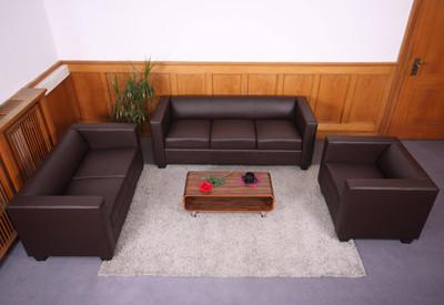 2er Sofa Couch Loungesofa Lille ~ Leder, rot – Bild 8