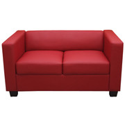 2er Sofa Couch Loungesofa Lille ~ Leder, rot 001
