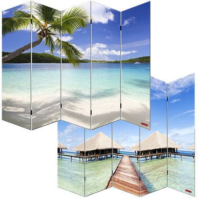 Foto-Paravent Paravent Raumteiler Trennwand M68 ~ 180x200cm, Strand – Bild 1