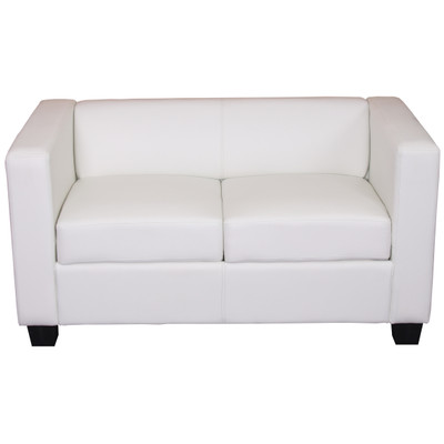 2er Sofa Couch Loungesofa Lille ~ Kunstleder, weiss