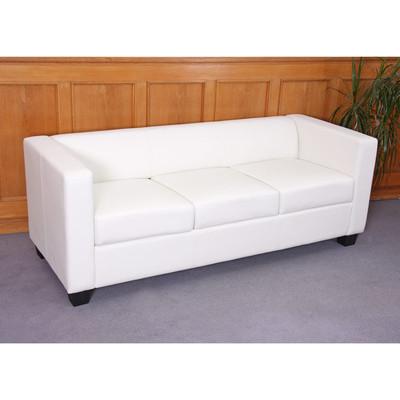 3er Sofa Couch Loungesofa Lille ~ Kunstleder, weiss – Bild 2
