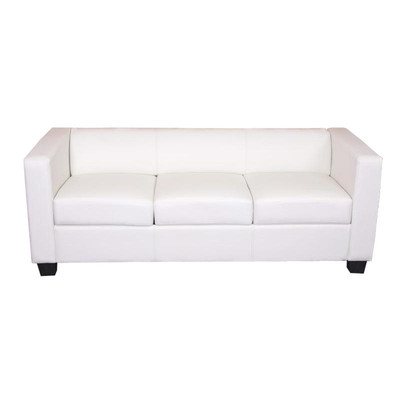 3er Sofa Couch Loungesofa Lille ~ Kunstleder, weiss