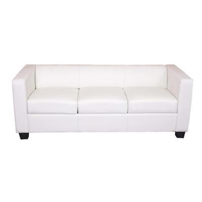 3er Sofa Couch Loungesofa Lille ~ Kunstleder, weiss – Bild 1