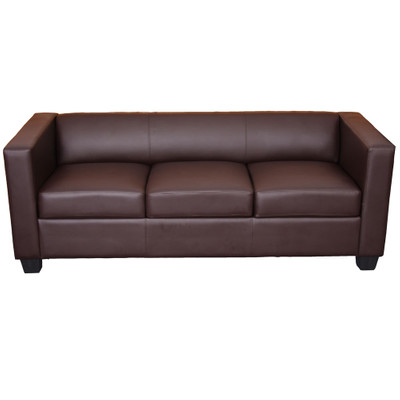 3er Sofa Couch Loungesofa Lille ~ Kunstleder, coffee