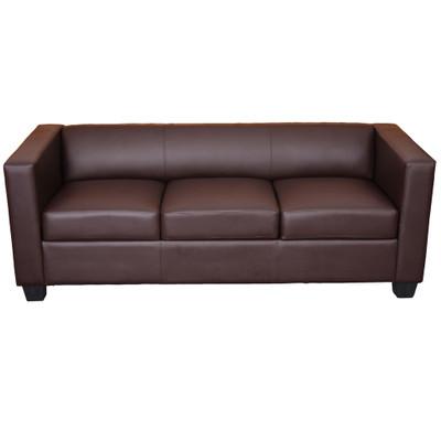 3er Sofa Couch Loungesofa Lille ~ Kunstleder, coffee – Bild 1