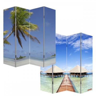 Foto-Paravent Paravent Raumteiler Trennwand M68 ~ 180x160cm, Strand – Bild 1