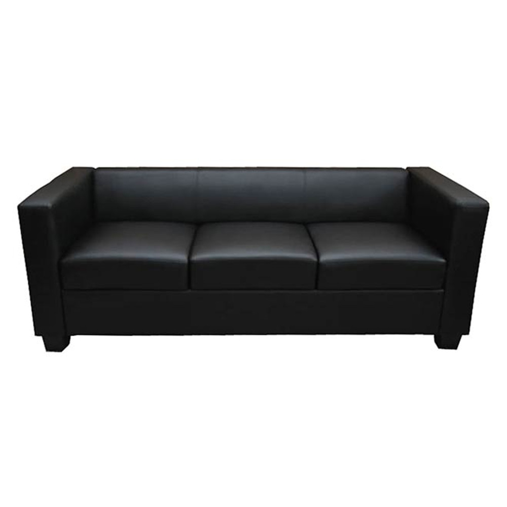 3er sofa couch loungesofa lille kunstleder schwarz bei arizondo kaufen. Black Bedroom Furniture Sets. Home Design Ideas