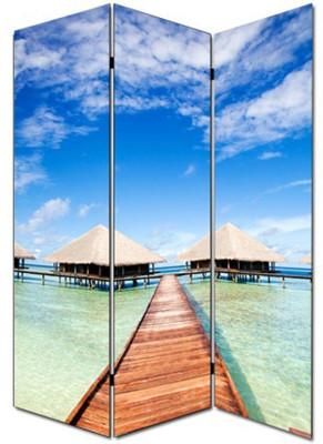 Foto-Paravent Paravent Raumteiler Trennwand M68 ~ 180x120cm, Strand – Bild 3