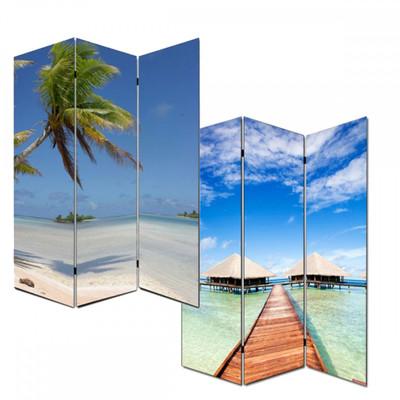 Foto-Paravent Paravent Raumteiler Trennwand M68 ~ 180x120cm, Strand – Bild 1