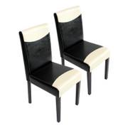2x Esszimmerstuhl Stuhl Küchenstuhl Littau ~ Kunstleder, schwarz-weiß, dunkle Beine 001