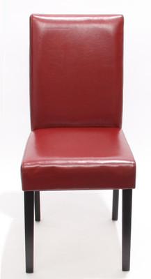 2x Esszimmerstuhl Stuhl Lehnstuhl Littau ~ Leder, rot, dunkle Beine – Bild 2