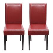 2x Esszimmerstuhl Stuhl Lehnstuhl Littau ~ Leder, rot, dunkle Beine 001