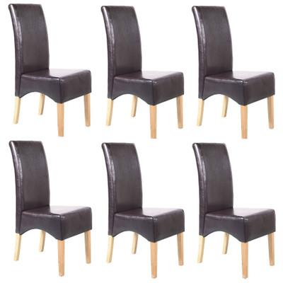 6x Esszimmerstuhl Lehnstuhl Stuhl Latina, LEDER ~ braun, helle Beine