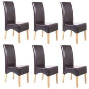 6x Esszimmerstuhl Lehnstuhl Stuhl Latina, LEDER ~ braun, helle Beine 001