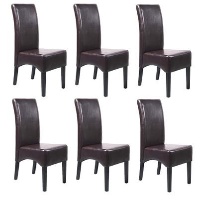 6x Esszimmerstuhl Lehnstuhl Stuhl Latina, LEDER ~ braun, dunkle Beine