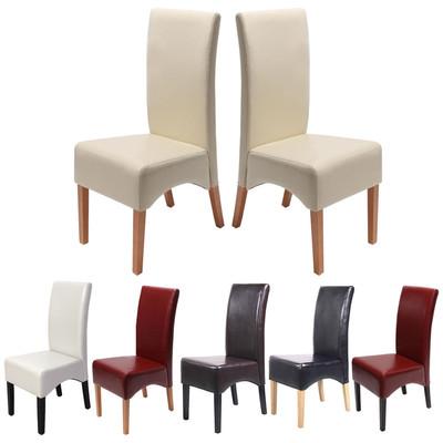 2x Esszimmerstuhl Lehnstuhl Stuhl Latina, LEDER ~ braun, dunkle Beine – Bild 5