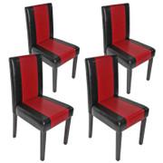 4x Esszimmerstuhl Stuhl Lehnstuhl Littau ~ Kunstleder, schwarz-rot, dunkle Beine 001