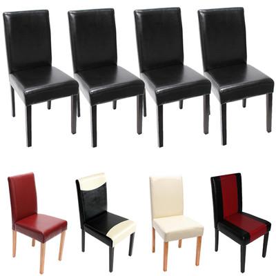 4x Esszimmerstuhl Stuhl Lehnstuhl Littau ~ Leder, rot dunkle Beine – Bild 5