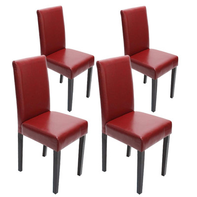 4x Esszimmerstuhl Stuhl Lehnstuhl Littau ~ Leder, rot dunkle Beine – Bild 1