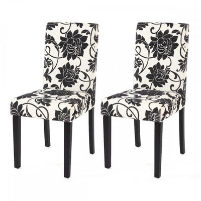 2x Esszimmerstuhl Stuhl Lehnstuhl Littau ~ Textil, jacquard, dunkle Beine – Bild 2