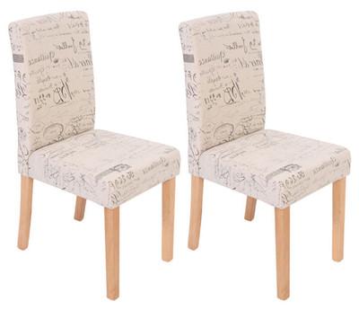 2x Esszimmerstuhl Stuhl Küchenstuhl Littau ~ Textil mit Schriftzug, creme, helle Beine – Bild 7