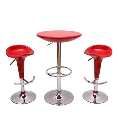 Bartisch Stehtisch Bistrotisch Mailand, höhenverstellbar Ø60cm ~ rot – Bild 4