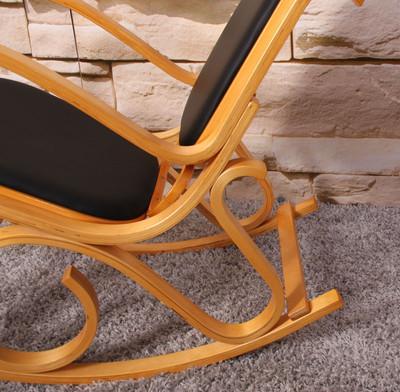 Schaukelstuhl Schwingsessel M41 aus Holz ~ Eiche, Kunstleder – Bild 3