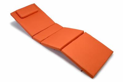 Hochwertige Auflage für Sonnenliege mit Kopfkissen orange – Bild 1