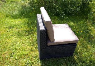 Polyrattan Sesselelement mit Polstern ecru – Bild 4