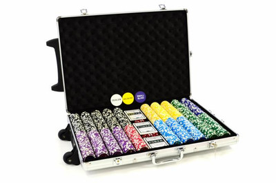 Pokerkoffer 1000 Laser Pokerchips Trolley Poker Set