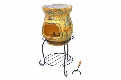 Terrassenofen mit Grill Gartenkamin Terracotta – Bild 1