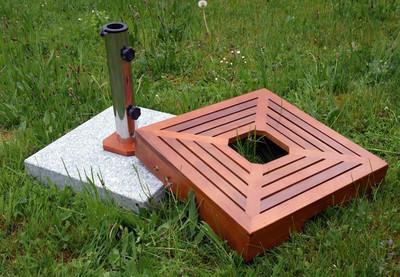 Sonnenschirmständer +Holzverkleidung Granit Edelstahl 40kg Schirmständer – Bild 4