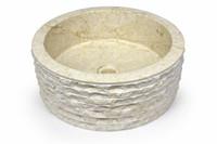 Waschtisch Teakholz mit Natursteinplatte Marmor creme DIVERO Badmöbel 001