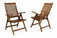 DIVERO Stuhl Akazie Holz 2er Set Hochlehner 5-fach verstellbar klappbar Garten 001