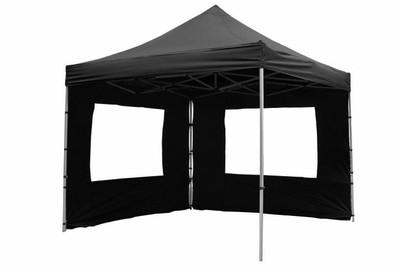 Falt Pavillon 3x3m schwarz 4 Seitenteile PROFI Ausführung wasserdichtes Dach