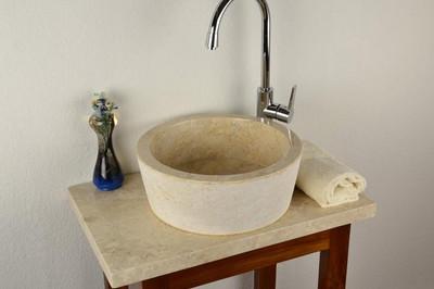DIVERO Handwaschbecken Naturstein Aufsatzwaschbecken Venedig – Bild 4