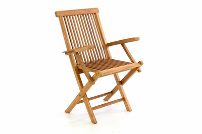 DIVERO Stuhl Teak Holz klappbar massiv Holzstuhl Gartenstuhl Teakstuhl Armlehne – Bild 1