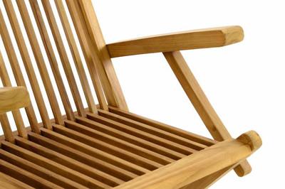 DIVERO Stuhl Teak Holz klappbar massiv Holzstuhl Gartenstuhl Teakstuhl Armlehne – Bild 3