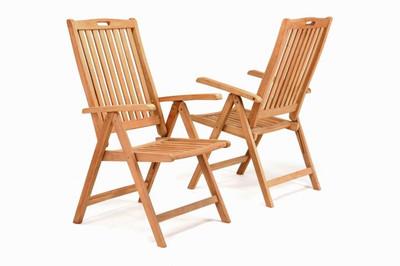 DIVERO Stuhl Teak Holz 2er Set Hochlehner 5-fach verstellbar klappbar Stühle – Bild 1