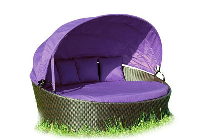 Exclusive Sonneninsel aus Polyrattan - Lounge flieder